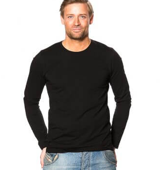 langærmet t shirt sort